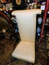 ANTIQUE PRAYER CHAIR PRIE DIEU RE-UPHOLSTERED IN CREAM NO CASTORS
